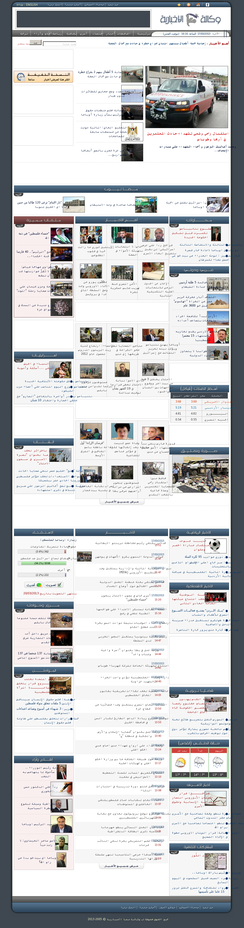 Ma'an News at Sunday March 17, 2013, 2:15 p.m. UTC