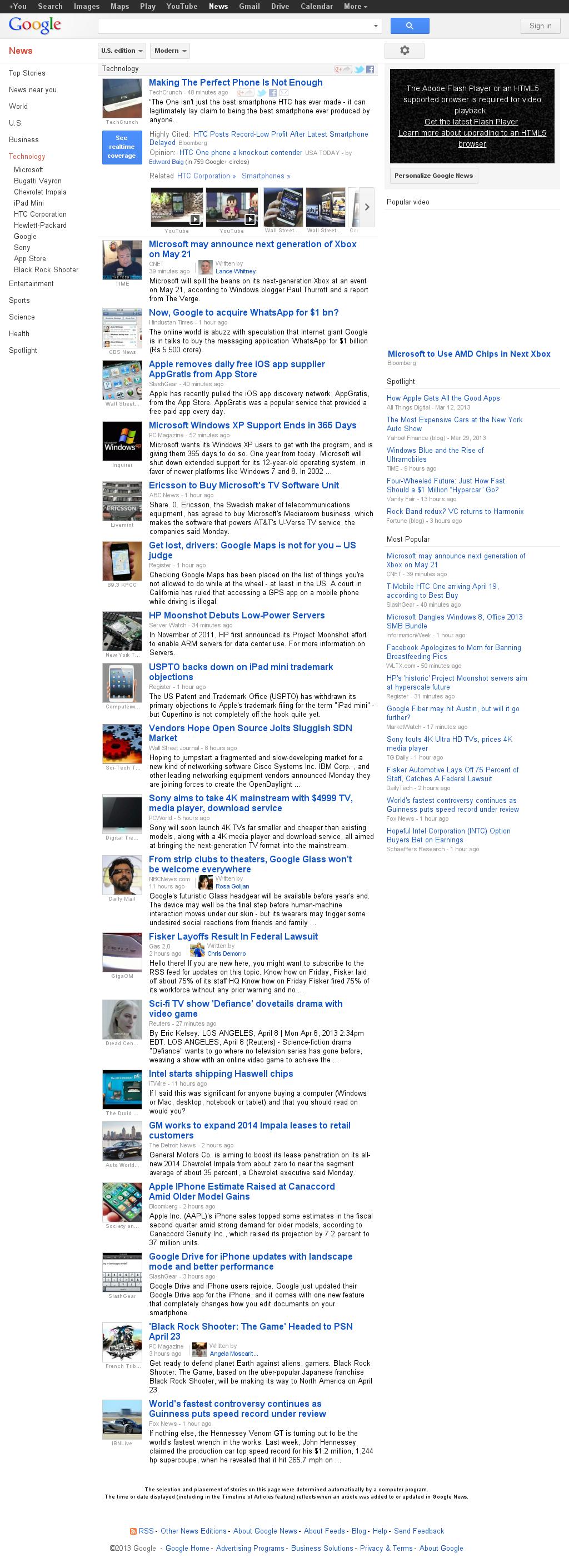 Google News: Technology at Monday April 8, 2013, 7:08 p.m. UTC