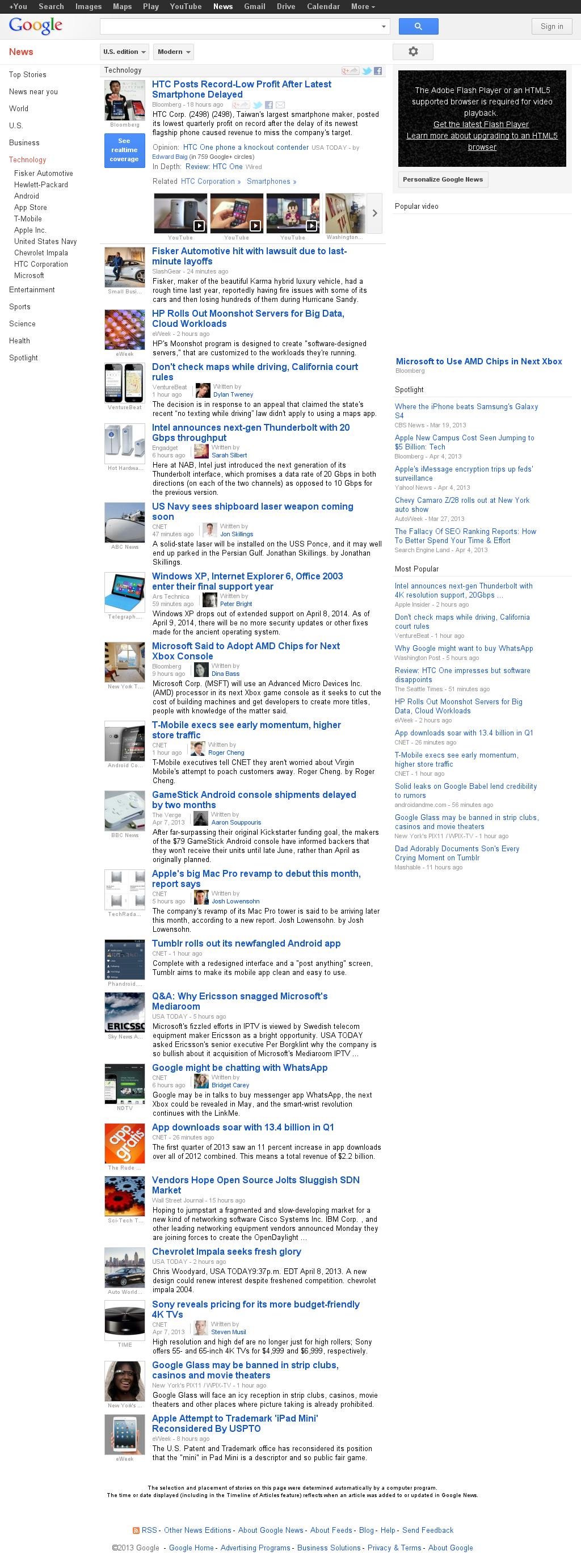 Google News: Technology at Tuesday April 9, 2013, 2:08 a.m. UTC
