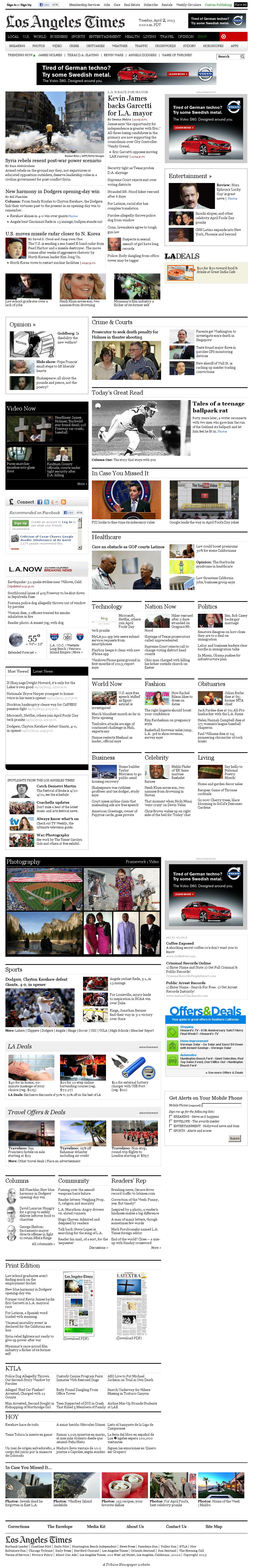 Los Angeles Times at Tuesday April 2, 2013, 9:11 a.m. UTC