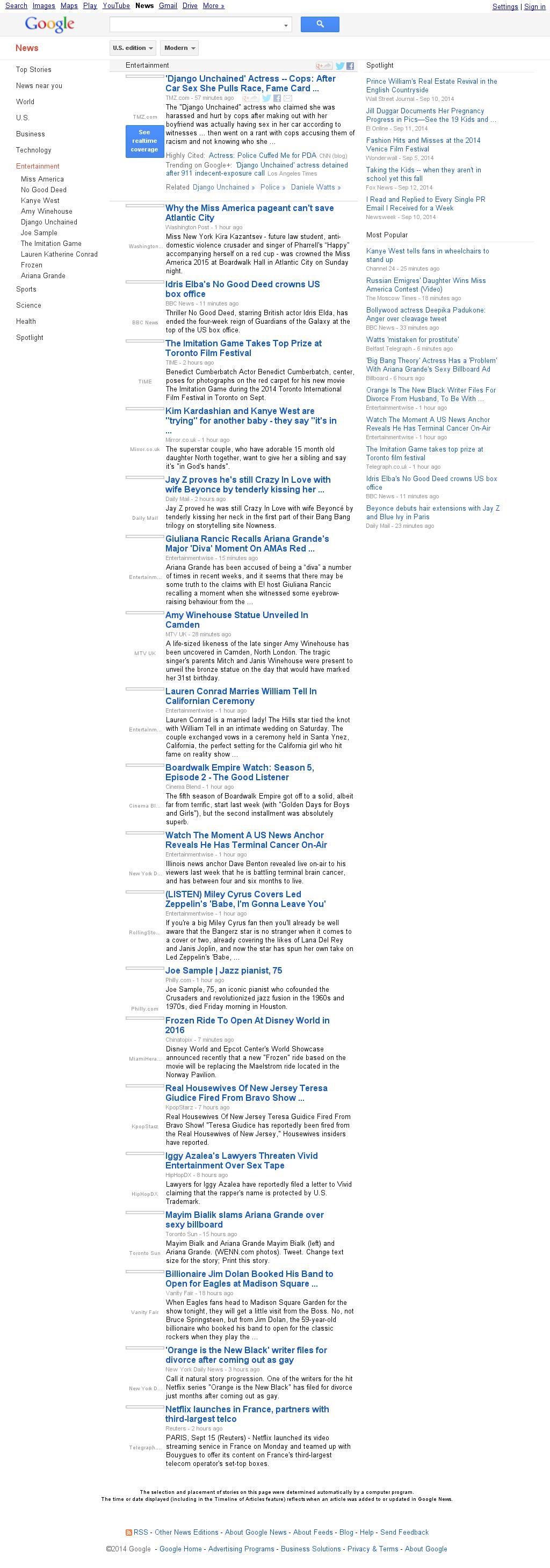 Google News: Entertainment at Monday Sept. 15, 2014, 9:07 a.m. UTC