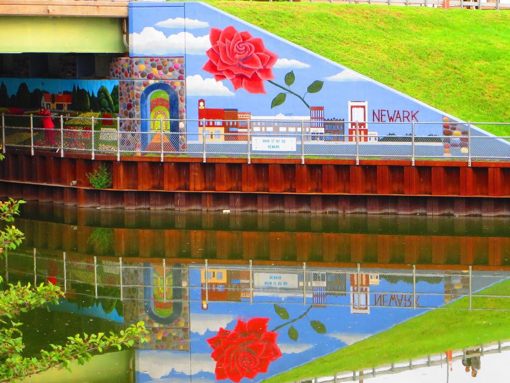 Newark Rose Mural Reflecting on Erie Canal in Wayne County (photo)
