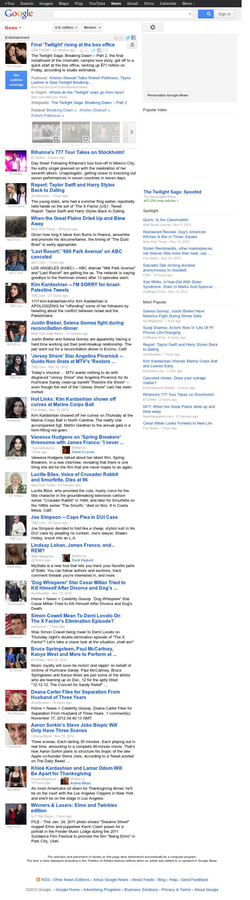 Google News: Entertainment at Saturday Nov. 17, 2012, 9:11 p.m. UTC