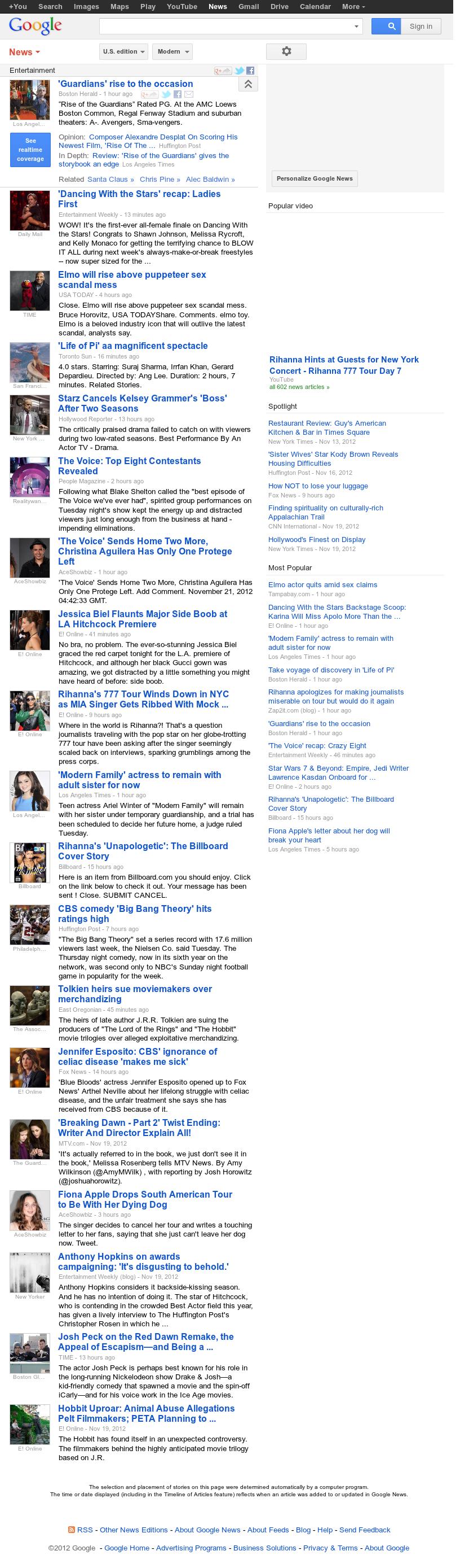 Google News: Entertainment at Wednesday Nov. 21, 2012, 6:11 a.m. UTC